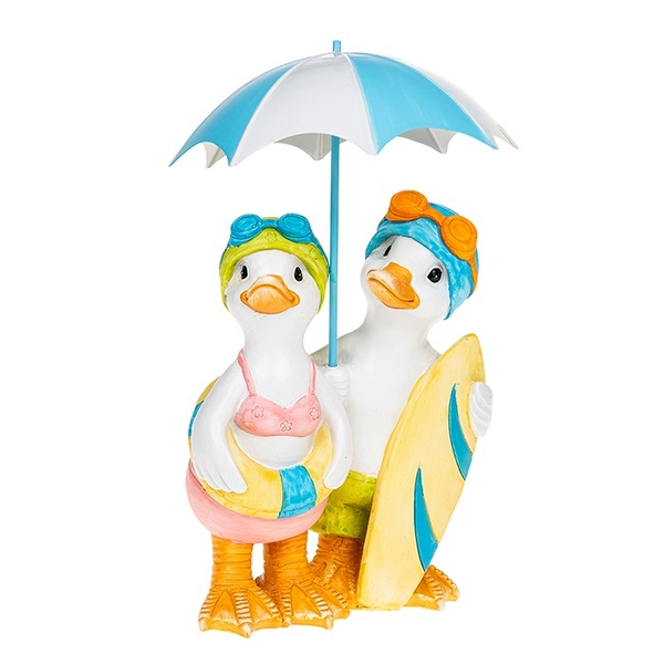 Lido Duck Standing Pair With Brolly Ornament