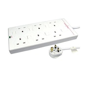 2m Mains Power Extension Lead 6 Way Surge Protected UK Plug