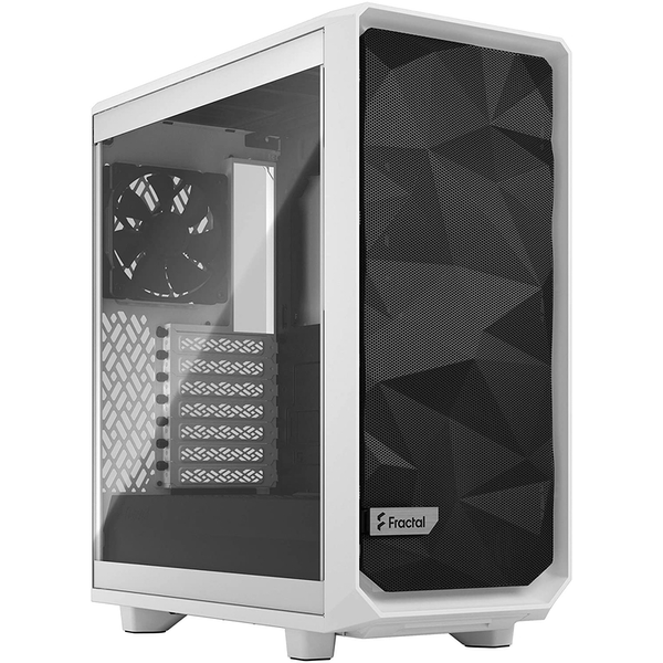 Image of Fractal Design Meshify 2 Compact (White TG) Gaming Case w/ Clear Glass Window, ATX, Angular Mesh Front, 3 Fans, Detachable...