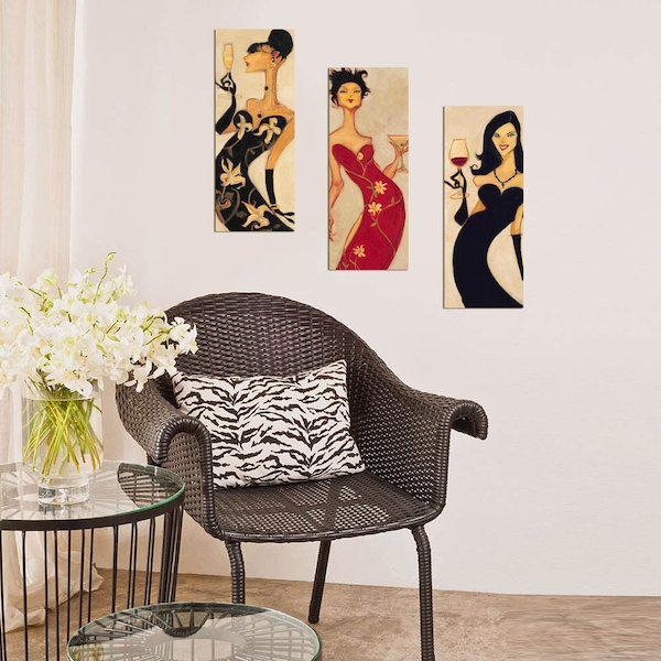 XTP017 Multicolor Decorative Framed MDF Painting (3 Pieces)