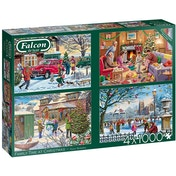 Falcon de luxe Family Time at Christmas 4-Pack Jigsaw Puzzle - 1000 Pieces