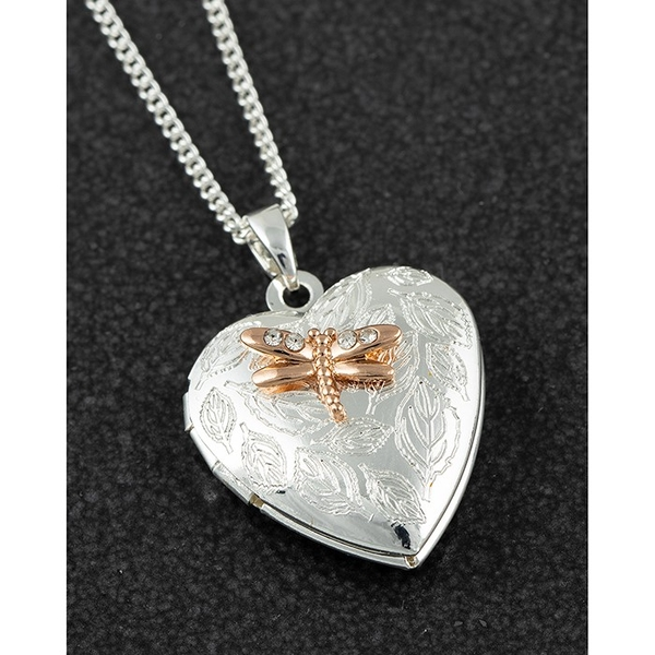 Polished Two Tone Heart Dragonfly locket