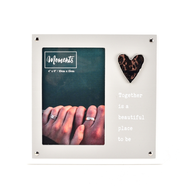 """Moments Wooden 2 Layer Heart Frame 4"""" x 6"""" - Together"""