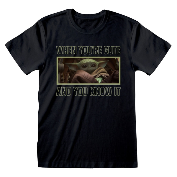 Star Wars - The Mandalorian When You're Cute and You Know It Unisex Medium T-Shirt - Black