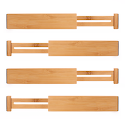 Bamboo Adjustable Drawer Dividers - Pack of 4 Small