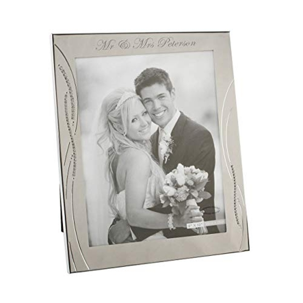 """8"""" x 10"""" - Silver Plated Wedding Photo Frame with Crystals"""