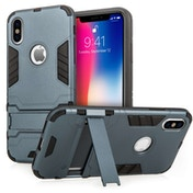 Caseflex Apple iPhone X Armour Kickstand Case - Dark Blue
