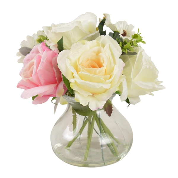The Flower Patch Roses & Daisies Cream & Dusky Pink in Glass Vase 26cm