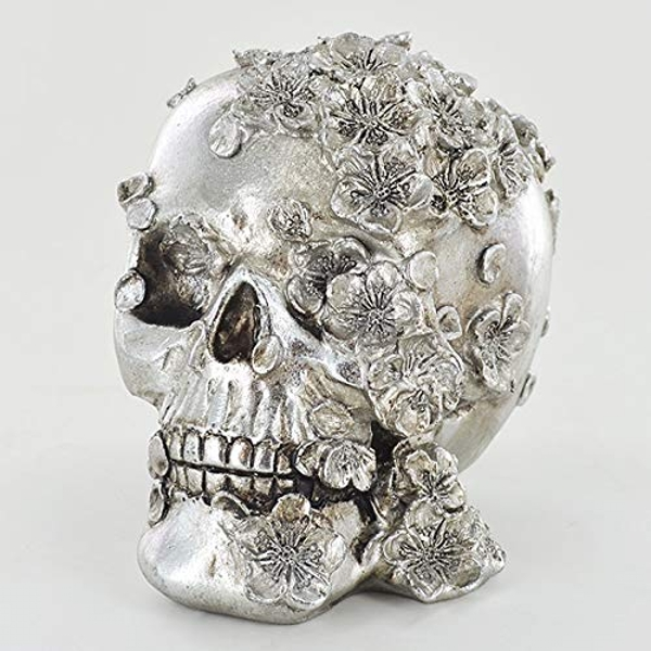 Silver Skull with Flowers
