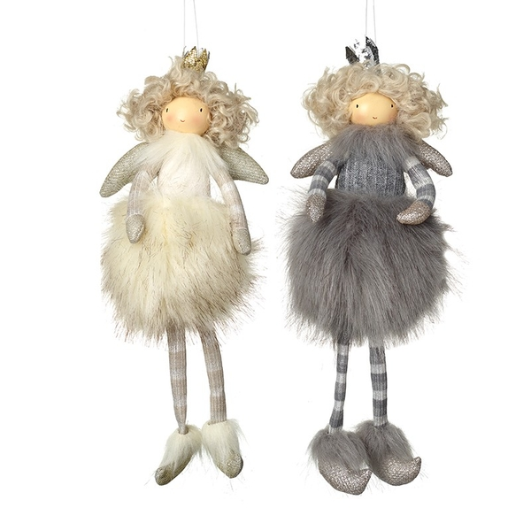 White And Grey Hanging Fairy Decoration by Heaven Sends (Set of 2)
