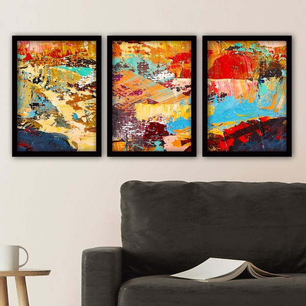 3SC146 Multicolor Decorative Framed Painting (3 Pieces)