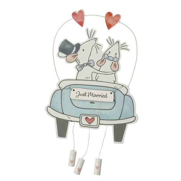 Mr & Mrs Mouse Just Married In Car Decoration Wedding Keepsake Gift By Heaven Sends