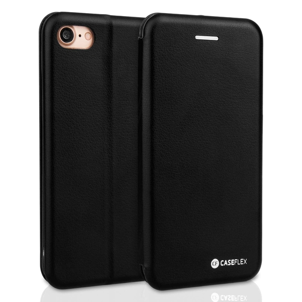 Caseflex Apple iPhone X PU Leather Stand Wallet Felt Lining ID Slots - Black (Retail Box)