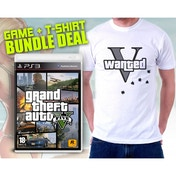Grand Theft Auto GTA V (Five 5) (Atomic Blimp DLC) & Wanted V T-Shirt in Large Game PS3