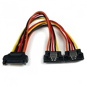 StarTech 6 inch Latching SATA Power Y Splitter Cable Adapter