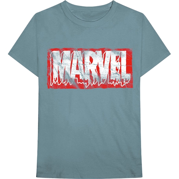 Marvel Comics - Distressed Dripping Logo Unisex Large T-Shirt - Blue