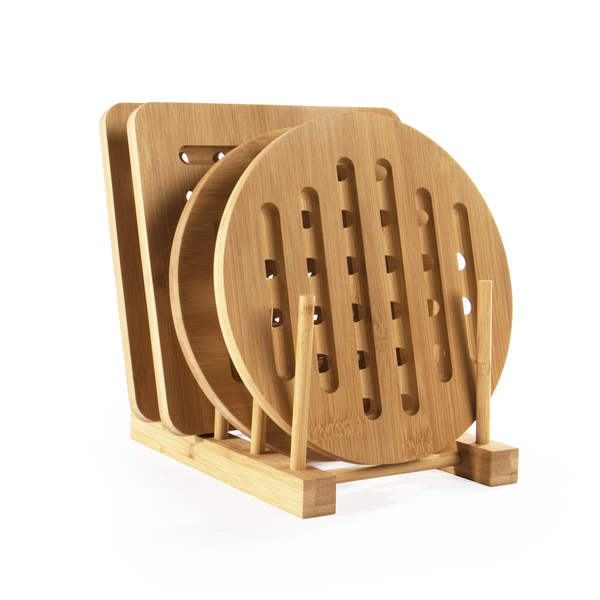 Set of 4 Bamboo Trivets with Storage Rack | M&W