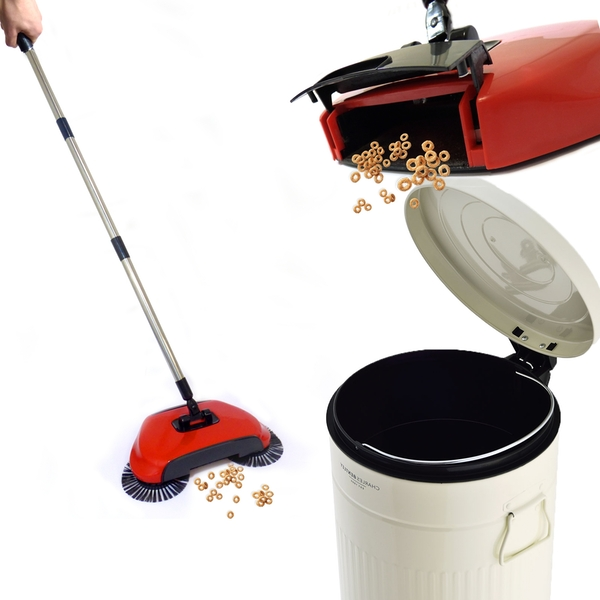 Automatic Spin Sweeper 3 in 1 Floor Sweeping Brush Broom, Duster & Dustpan M&W - Image 6
