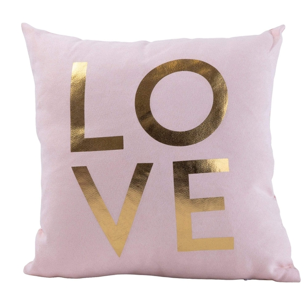 Pink Velvet Fabric 'With Love' Filled Cushion 25cm