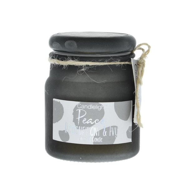 Candlelight Peace Small Frosted Glass Candle Redcurrant and Ivy Scent
