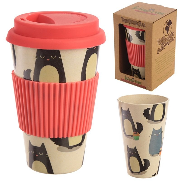 Cat Design Bambootique Eco Friendly Travel Cup