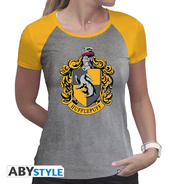 Harry Potter - Hufflepuff Women'S Large T-Shirt - Grey/Yellow
