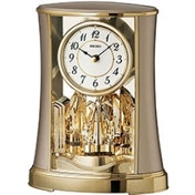 Seiko QXN227G Mantel Clock with Rotating Pendulum Gold Finish