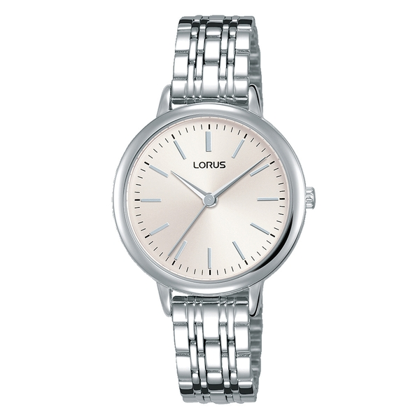Lorus RG297PX9 Ladies Silver Bracelet Watch with Soft Sunray Pink Dial