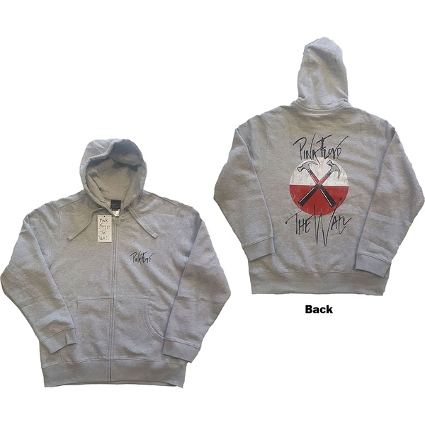 Pink Floyd - The Wall Faded Hammers Logo Unisex XX-Large Zipped Hoodie - Grey