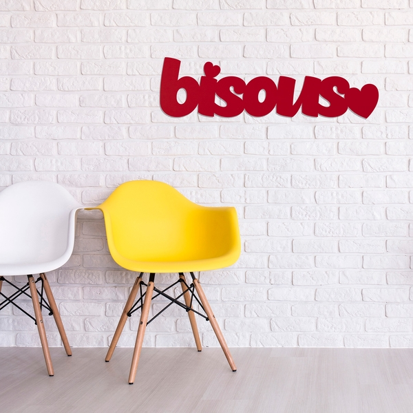 Bisous - Red Red  Decorative Wooden Wall Accessory