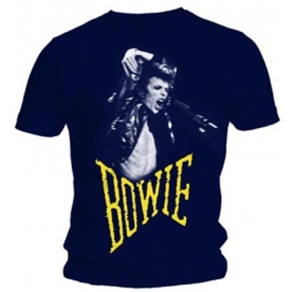 David Bowie Scream Mens Navy T Shirt: Medium