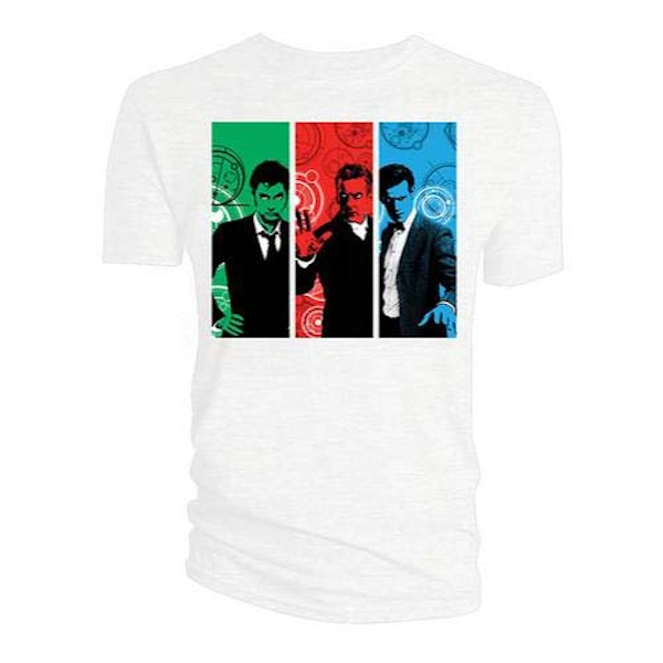 Doctor Who - Red, Green, Blue Doctors Women's Large T-Shirt - White