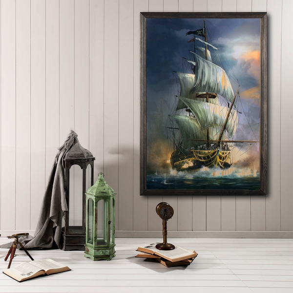 Sailboat Multicolor Decorative Framed Wooden Painting