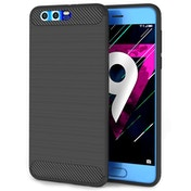 Huawei Honor 9 Carbon Fibre TPU Case Silicone Cover - Black