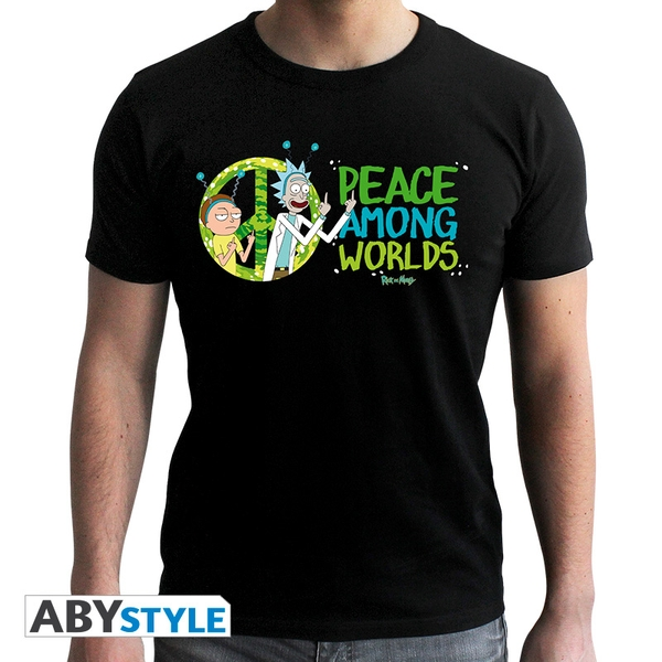 Rick And Morty - Peace Among Worlds Men'S Small T-Shirt - Black