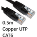 RJ45 (M) to RJ45 (M) CAT6 0.5m Black OEM Moulded Boot Copper UTP Network Cable - Image 2