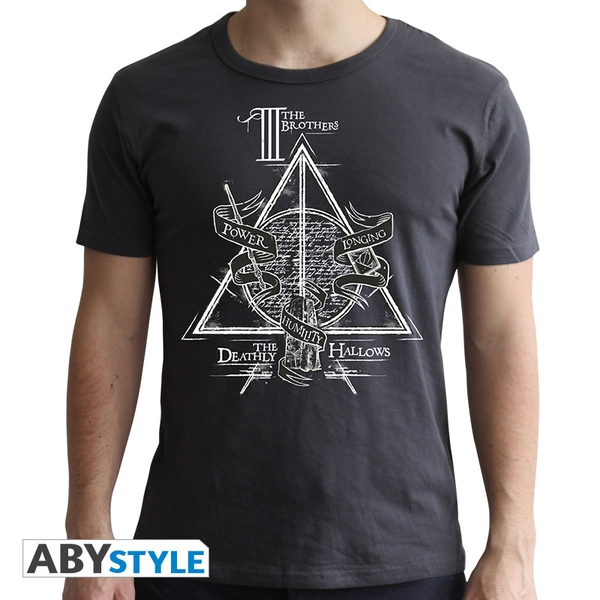 Harry Potter - Deathly Hallows Men's Small T-Shirt - Grey