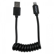 StarTech 0.3m  Coiled Black Apple 8-pin Lightning Connector to USB Cable for iPhone / iPod / iPad