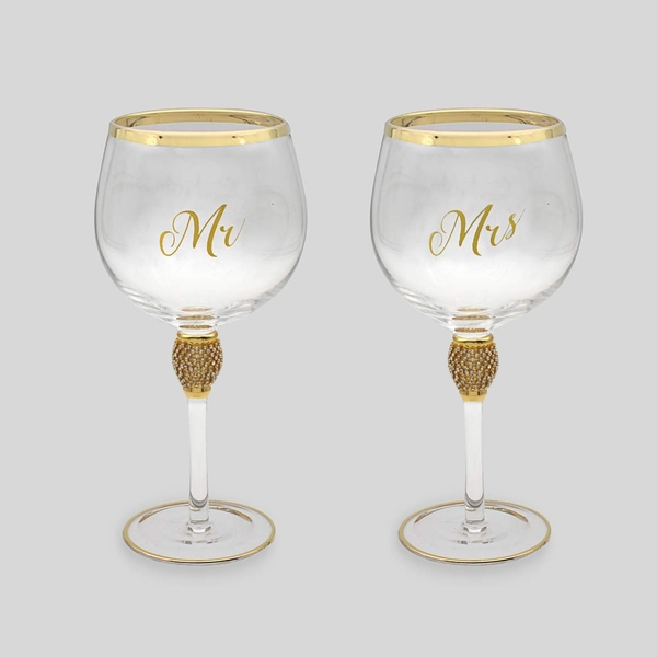 Mr&Mrs Diamante Gin Glass Gold By Lesser & Pavey