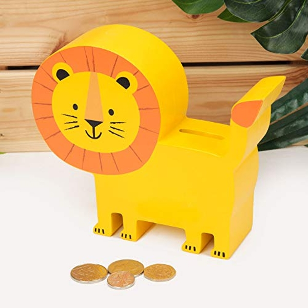 Jungle Baby London the Lion Wooden Money Box