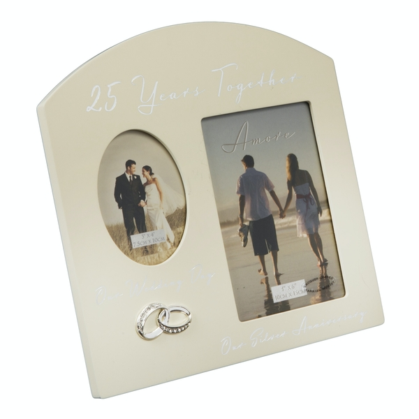 AMORE BY JULIANA Double Anniversary Frame - 25 Years
