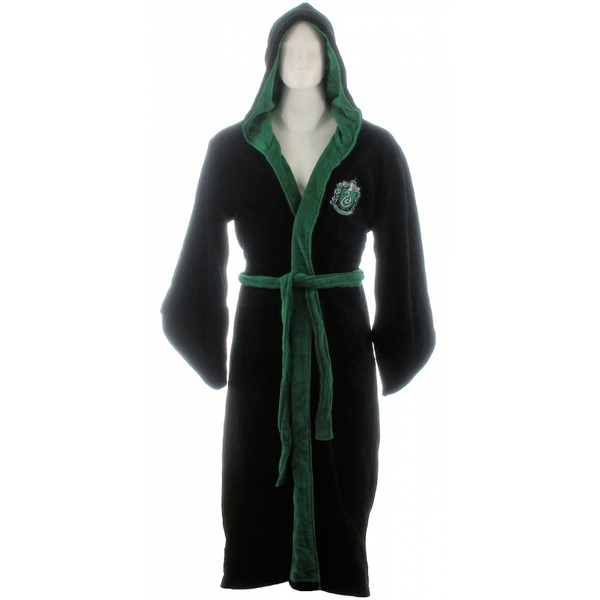 Slytherin Harry Potter Fleece Bathrobe Black Green