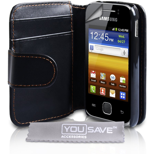 YouSave Accessories Samsung Galaxy Young Leather-Effect Wallet Case - Black