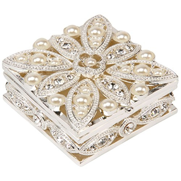 Sophia Silverplated Trinket Box - Pearl Flower