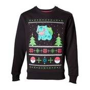 Pokemon Mens Bulbasaur in the Snow Large Christmas Jumper