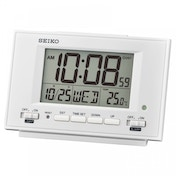 Seiko QHL075W LCD Alarm Clock with Calendar and Thermometer Black