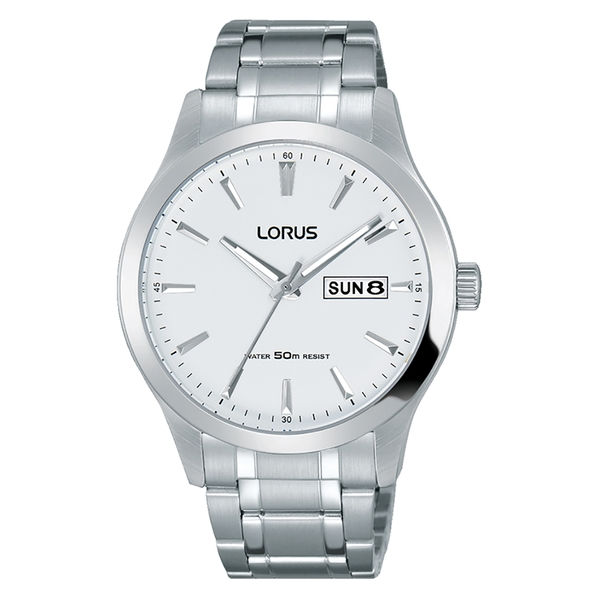 Lorus RXN25DX9 Mens Stainless Steel Dress Watch with White Dial