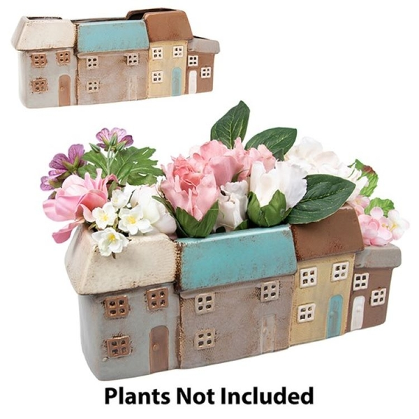 Village Pottery 4 Houses Planter