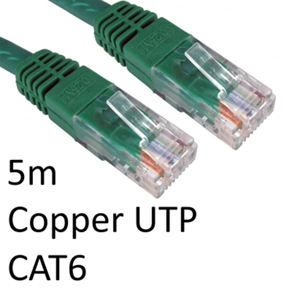 RJ45 (M) to RJ45 (M) CAT6 5m Green OEM Moulded Boot Copper UTP Network Cable