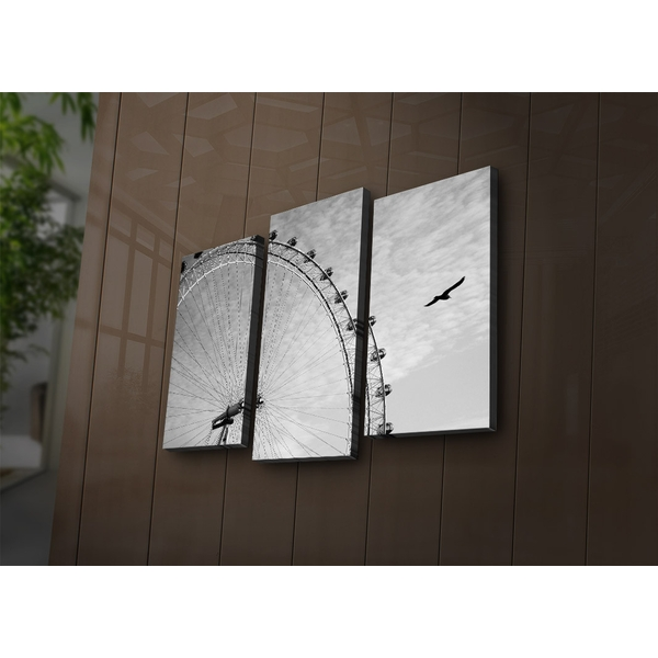 3PAT?ACT-5 Multicolor Decorative Led Lighted Canvas Painting (3 Pieces)